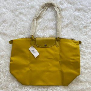 NWT Longchamp Le Pliage Medium / Large Handle Tote Bag In Yellow on Yellow